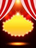 Affischmall med det retro kasinobanret Design för presentati Royaltyfria Bilder