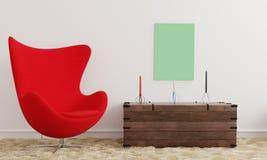 Affischmodell med en röd stol och stearinljus royaltyfri illustrationer