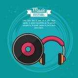 Affischmusikfestival i blå bakgrund med vinyllp-rekordet och hörlurar royaltyfri illustrationer
