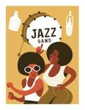 Affischmusikfestival, retro parti i stilen av 70-tal, 80-tal i diskostilen Par med afrikanska frisyrer som dansar diskot stock illustrationer