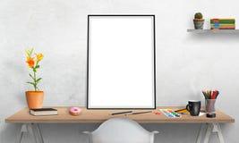 affischram och bärbar dator på kontorsskrivbordet för modell stock illustrationer