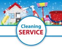 Affischrengöringhus med hjälpmedel för renlighet- och desinficeringnolla stock illustrationer