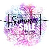 Affischsommarförsäljning på en moderiktig tropisk vattenfärgbakgrund, exotiska palmträd Kort etikett, reklamblad, banerdesign royaltyfri illustrationer