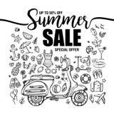 Affischsommarförsäljningar, uppsättning av svarta symboler och symboler med mopeden på vit bakgrund, reklambladmallar med bokstäv Royaltyfria Foton