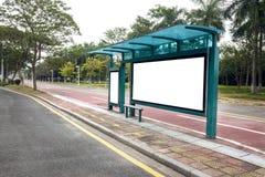 Affischtavla för bussstation Fotografering för Bildbyråer