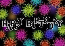 Affischtavla för lycklig födelsedag med det färgrika vibrerande fyrverkerit, garnering för födelsedagparti stock illustrationer