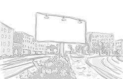Affischtavla i den grafiska designen för stadsattraktion vektor illustrationer