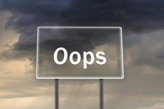 Affischtavla med inskriften oops med åska-stormen Fotografering för Bildbyråer