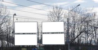 Affischtavla med vitt utrymme för gator som annonserar arkivfoto
