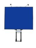 Affischtavlaadvertizingpanel med tomt utrymme och den ljusa projektorn Royaltyfria Bilder