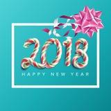 Affischvektor för nytt år 2018 Realistisk pilbåge kortjul som greeting Lyxig Xmas-broschyr, reklambladmalldesign Royaltyfri Foto
