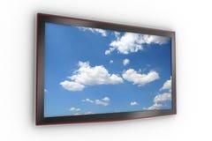 Affissione a cristalli liquidi alla moda fissata al muro TV Immagini Stock Libere da Diritti