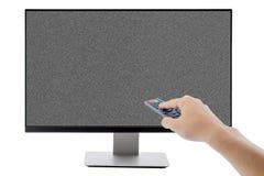 Affissione a cristalli liquidi dello schermo piano della TV, plasma, derisione della TV su Modello nero del monitor di HD Fotografia Stock
