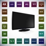 Affissione a cristalli liquidi nera TV con l'insieme del vettore delle icone Illustrazione di Stock