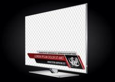 Affissione a cristalli liquidi realistica dello schermo piano della TV, plasma con le barre di notizie per il video titolo del ti illustrazione di stock