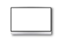 Affissione a cristalli liquidi su una parete, derisione realistica dello schermo piano della TV del plasma TV su nero Fotografia Stock