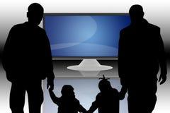 Affissione a cristalli liquidi TV e famiglia Immagine Stock