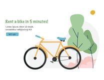 Affitto della bici Fondo di concetto di turismo e di viaggio con la bicicletta Insegna di web per l'affitto della bicicletta Fotografia Stock