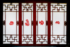 Affixed grilles window on new Chinese grid Stock Image