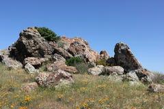 Affleurement rocheux sur la colline photo libre de droits