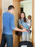Afflicted woman leaving from home Stock Photos