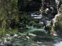 Affluenza dell'insenatura della montagna alla cascata Immagine Stock