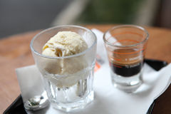 Affogato coffee with ice cream Stock Images