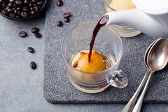 Affogato kaffe med glass på en glass kopp royaltyfri fotografi