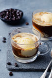 Affogato kaffe med glass på en glass koppgrå färg kritiserar bakgrund royaltyfria bilder