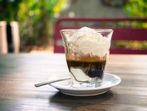 Affogato kaffebakgrund, bakgrundsbegrepp Royaltyfri Bild
