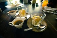 Affogato, Vanilla ice cream with hot coffee, Italian gelato ice. Cream comes with hot espresso, happy time Stock Image