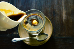 Affogato, Vanilla ice cream with hot coffee, Italian gelato ice Royalty Free Stock Photography