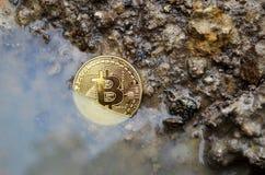 Affondamento della moneta di Bitcoin fotografia stock libera da diritti