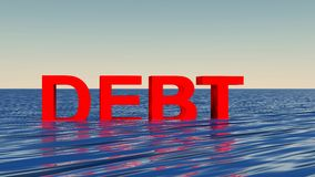 Affondando nel concetto di debito Immagine Stock Libera da Diritti