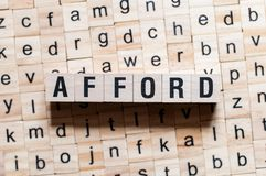 Afford word concept stock photography