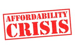 AFFORDABILITY CRISIS Rubber Stamp. AFFORDABILITY CRISIS red rubber stamp over a white background Stock Images
