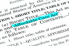 Affordable Care Act. Words Affordable Care Act highlighted within the Affordable Care Act document royalty free stock photo