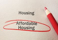 Affordable Housing concept. Affordable Housing text circled in red pencil, on textured paper stock images
