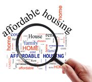 Affordable Housing search. Person with magnifying glass and Affordable Housing word cloud, on white stock photos