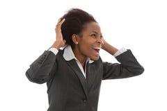 Affär: kvinna för svart makt som kallar som isoleras ut på vit backgr Royaltyfri Foto