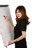 Affär, möte och utbildning - affärskvinna med flipchart Royaltyfria Bilder