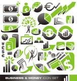Affär och pengarsymbolsset Arkivfoton