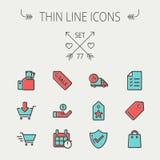 Affär som shoppar den tunna linjen symbolsuppsättning Arkivbild