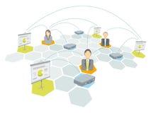 Affärslaget knyter kontakt/den affärsmanportföljen och presentationen. Arkivfoto