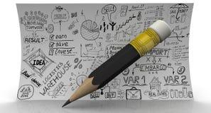 Affären skissar vid handen och blyertspennan Arkivbild