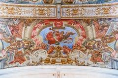 Affreschi barrocco nel soffitto dell'ospedale de Jesus Cristo Church Fotografia Stock