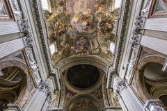 Affreschi di Andrea Pozzo sui soffitti sant della chiesa di Ignazio, Roma, Ital Fotografia Stock Libera da Diritti