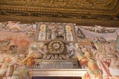 Affreschi nel ` Udienza del dell di Sala nel Palazzo Vecchio, Firenze, Italia fotografie stock libere da diritti