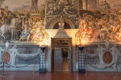 Affreschi nel ` Udienza del dell di Sala nel Palazzo Vecchio, Firenze, Italia fotografie stock