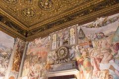 Affreschi nel ` Udienza del dell di Sala nel Palazzo Vecchio, Firenze, Italia immagine stock